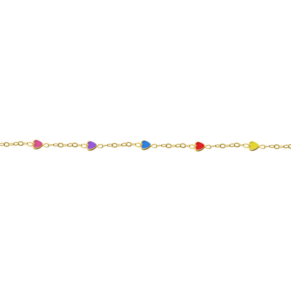 14K GOLD POPPY RAINBOW HEART BABY BRACELET