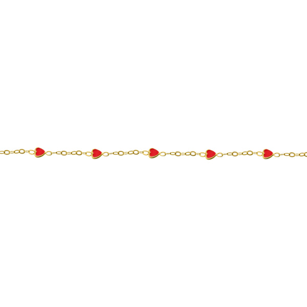 14K GOLD POPPY RED HEART BABY BRACELET