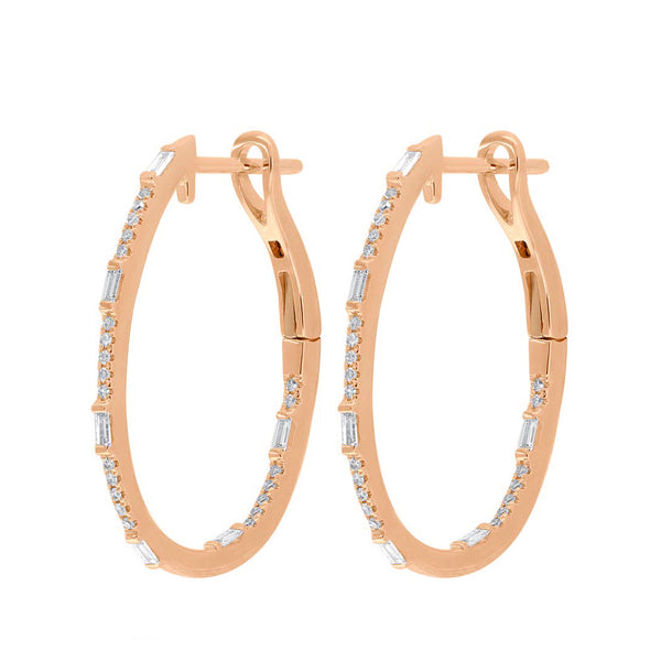 14K GOLD DIAMOND SMALL LAYLA HOOPS