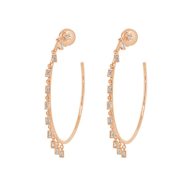 14K GOLD DIAMOND STEPHANIE HOOPS