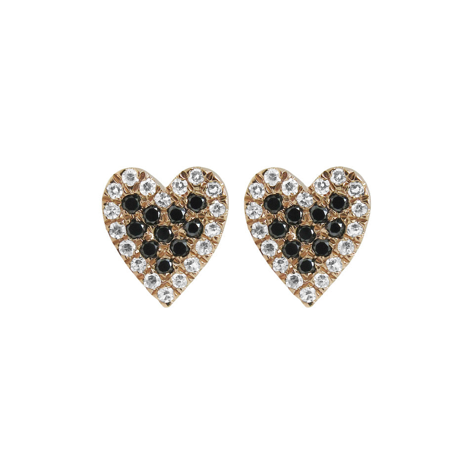 14K GOLD BLACK AND WHITE DIAMOND EVIE HEART STUDS