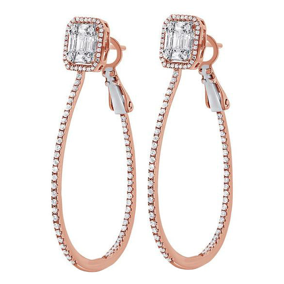 14K ROSE GOLD DIAMOND JOY HOOPS
