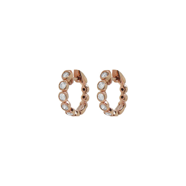 14K ROSE GOLD DIAMOND ARIA HUGGIES