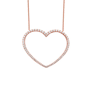 14K GOLD DIAMOND LARGE KARINA HEART NECKLACE