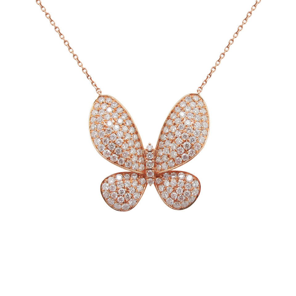 14K ROSE GOLD DIAMOND RAE BUTTERFLY NECKLACE