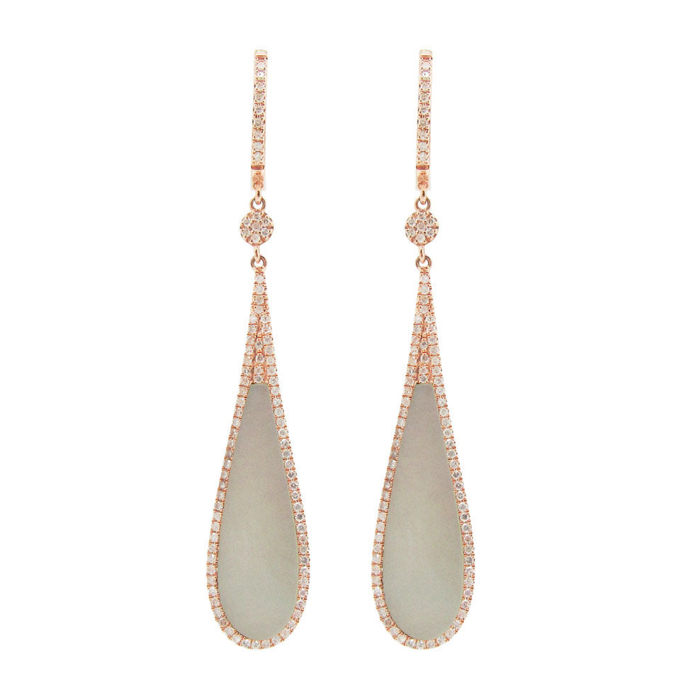 14K GOLD DIAMOND WHITE MOTHER OF PEARL CAROLINE EARRINGS