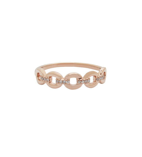 14K GOLD DIAMOND LINNIE LINK RING (ALL COLORS)