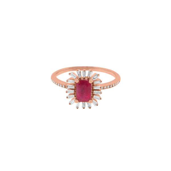 14K GOLD DIAMOND AND RUBY LYDIA RING