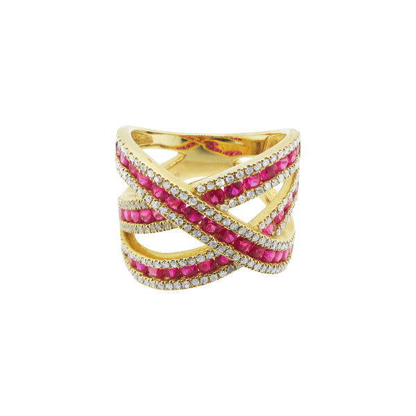14K GOLD DIAMOND RUBY DEBRA RING