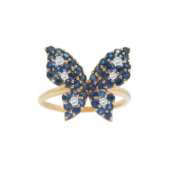 14K GOLD DIAMOND ROSIE BLUE SAPPHIRE BUTTERFLY RING