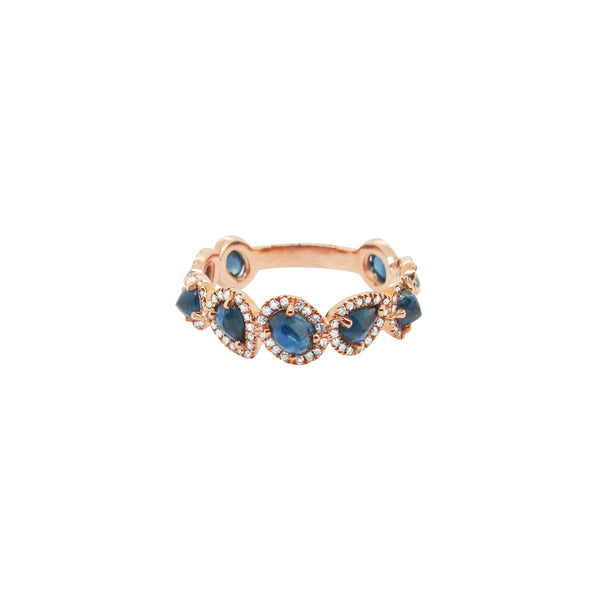 14K GOLD DIAMOND AND SAPPHIRE DARA RING