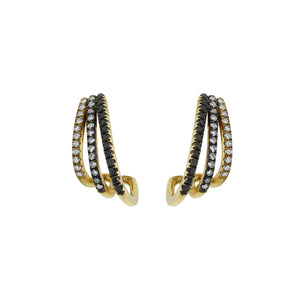 14K GOLD BLACK AND WHITE DIAMOND SHELBY STUDS
