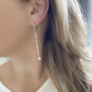 14K GOLD DIAMOND SHELLY PEARL EARRINGS