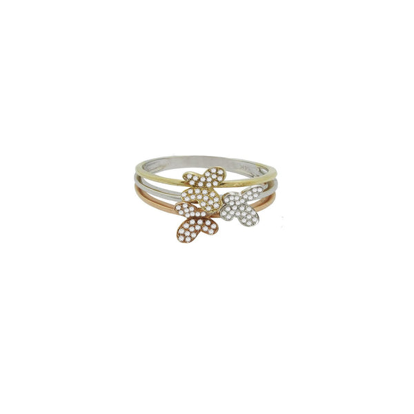 14K GOLD DIAMOND TRICOLOR BUTTERFLY RING