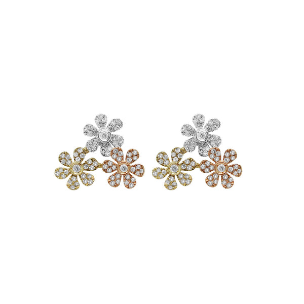 14K GOLD DIAMOND TRICOLOR CARMEN STUDS
