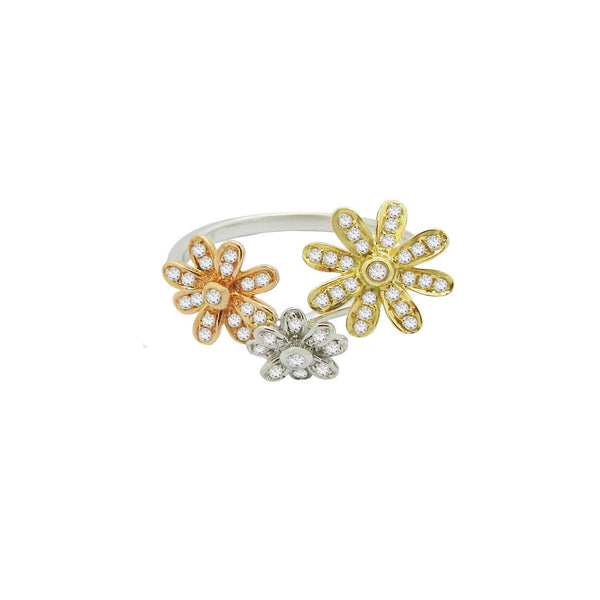 TRIPLE FLOWER RING IN TRI COLOR