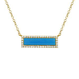 14K GOLD DIAMOND AND TURQUOISE ANNETTE NECKLACE