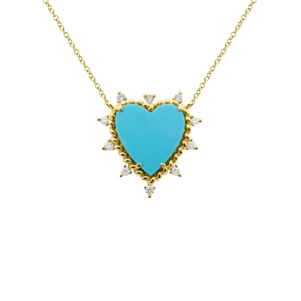 14K GOLD DIAMOND AND TURQUOISE JILL HEART NECKLACE
