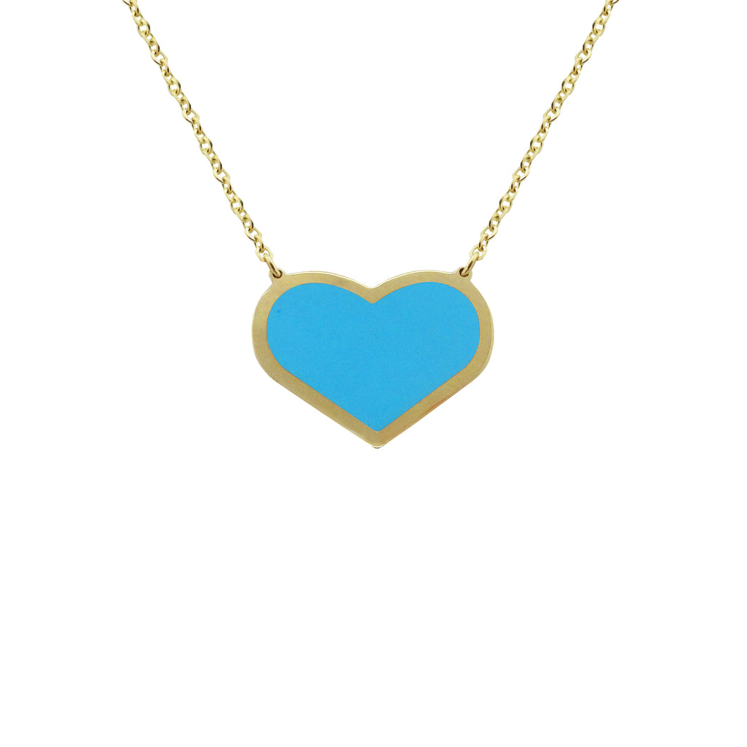 14K GOLD MEGAN SINGLE TURQUOISE HEART NECKLACE