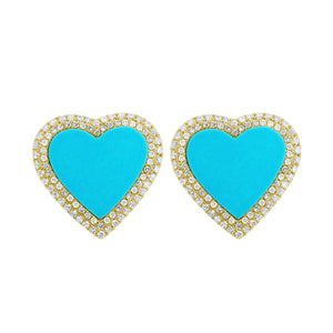 14K GOLD DIAMOND AND TURQUOISE MIA HEART EARRINGS