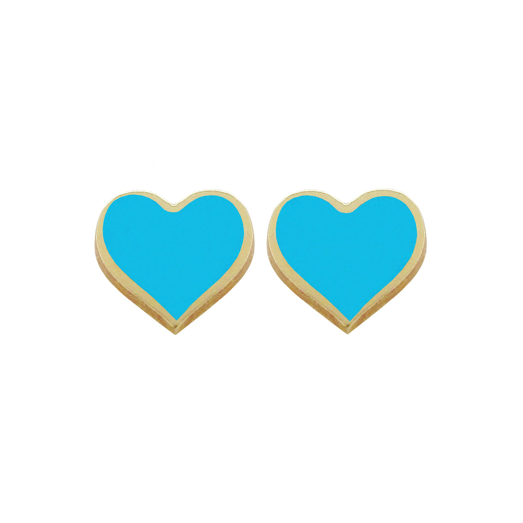 14K GOLD MEGAN SMALL TURQUOISE HEART STUDS