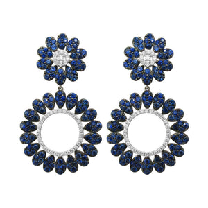 18K GOLD DIAMOND BLUE SAPPHIRE SIMONE EARRINGS