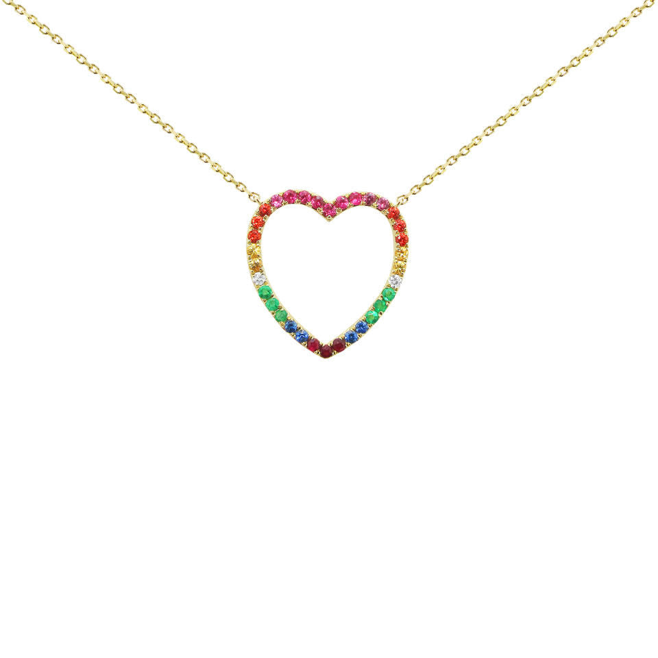 14K GOLD DIAMOND SMALL ARIELLE HEART NECKLACE