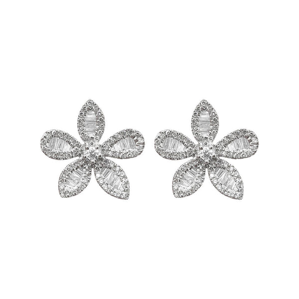14K GOLD DIAMOND ROSIE FLOWER STUDS