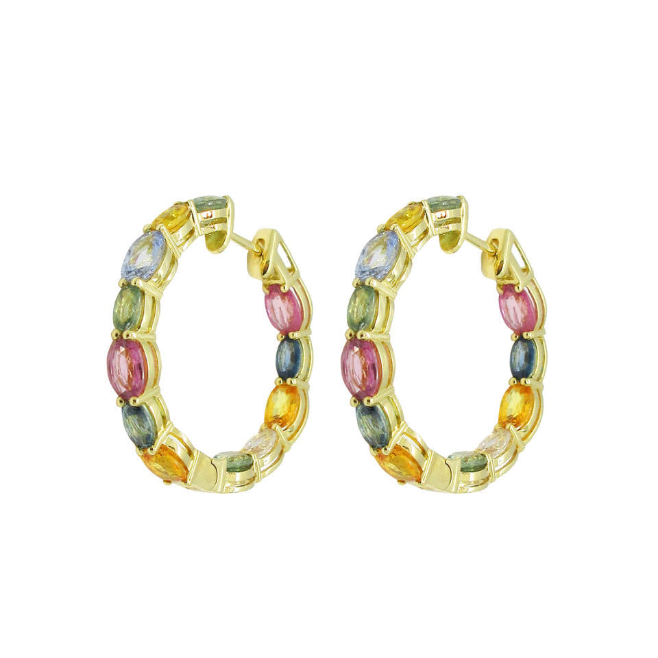 18K GOLD MULTICOLOR CALLIE HOOPS