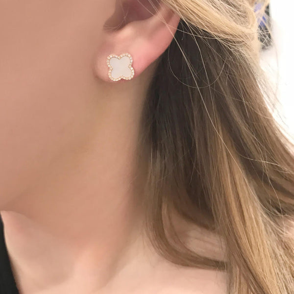 14K GOLD DIAMOND WHITE MOTHER OF PEARL JENNA STUDS