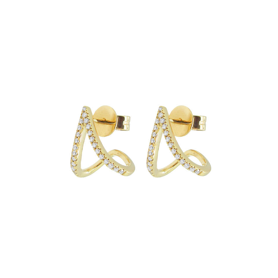 14K GOLD DIAMOND SOPHIA STUD CUFF EARRINGS