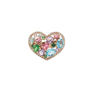 14K GOLD DIAMOND AUDREY MULTICOLOR HEART RING