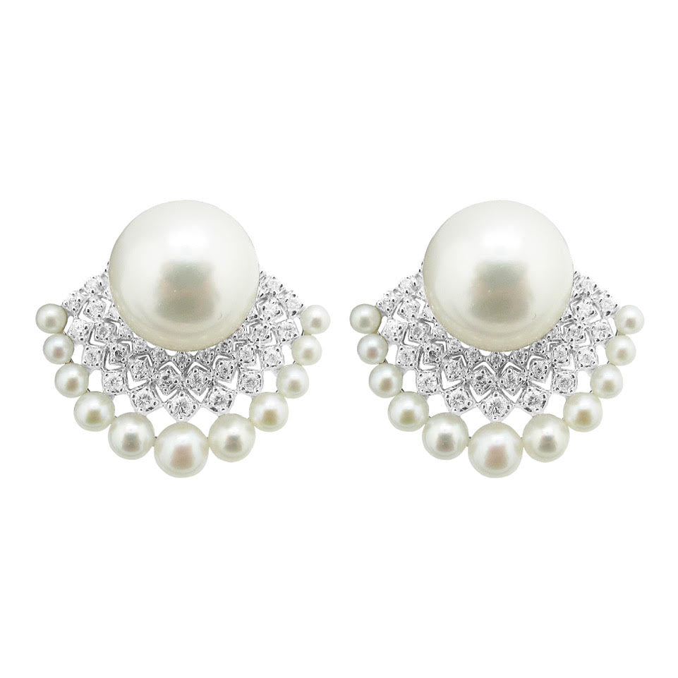 18K GOLD DIAMOND PEARL KELSEA EARRINGS