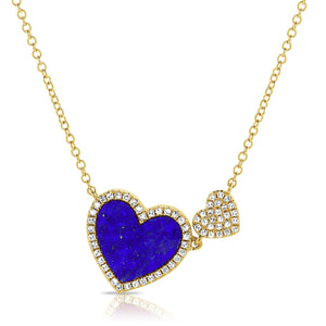 14K GOLD DIAMOND YARDENA LAPIS DOUBLE HEART NECKLACE