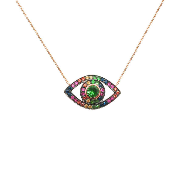 14K GOLD MULTICOLOR ALISHA EYE NECKLACE