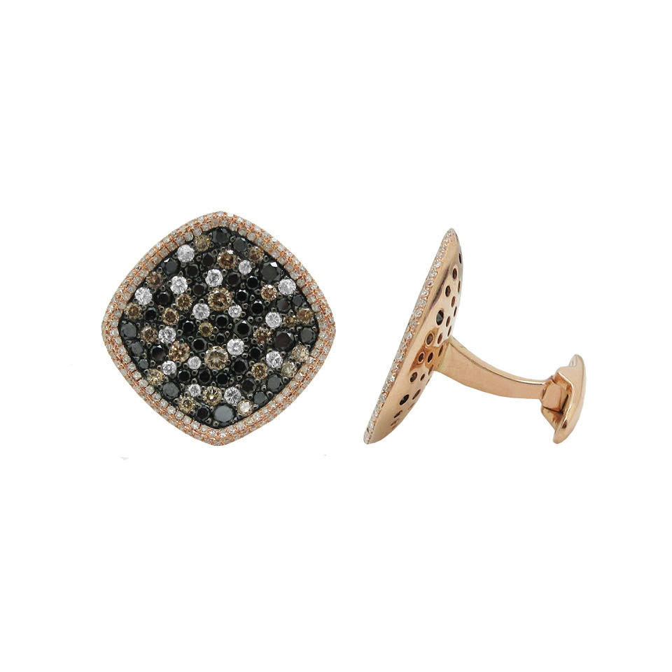 14K GOLD BLACK AND WHITE DIAMOND BENJAMIN CUFFLINKS