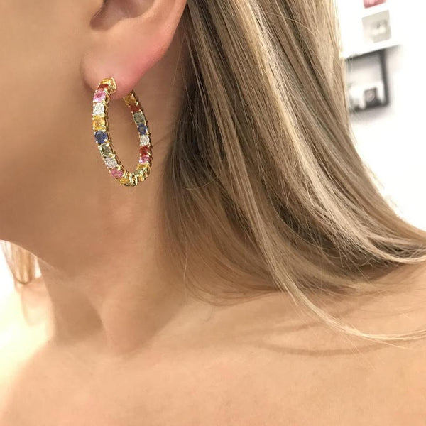 18K GOLD DIAMOND MIKAELA MULTICOLOR HOOPS