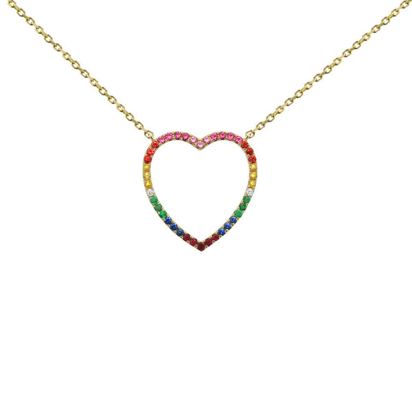 14K GOLD DIAMOND LARGE ARIELLE HEART NECKLACE