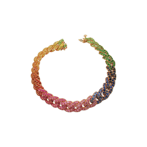 14K GOLD DIAMOND GWEN RAINBOW LINK BRACELET