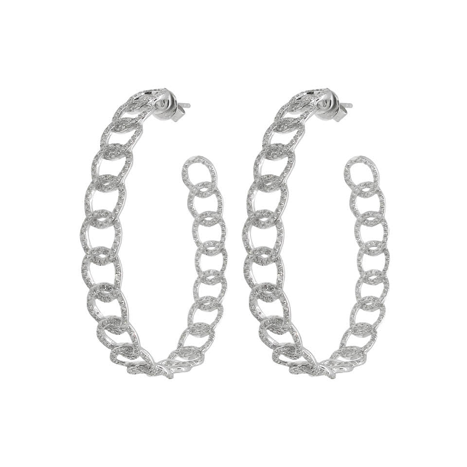 18K GOLD DIAMOND ARIA CHAIN HOOPS