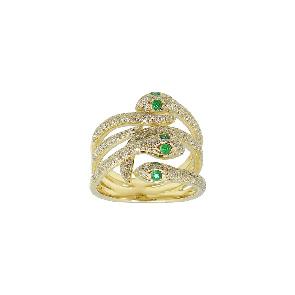 14K GOLD DIAMOND EMERALD EMELIA SNAKE RING