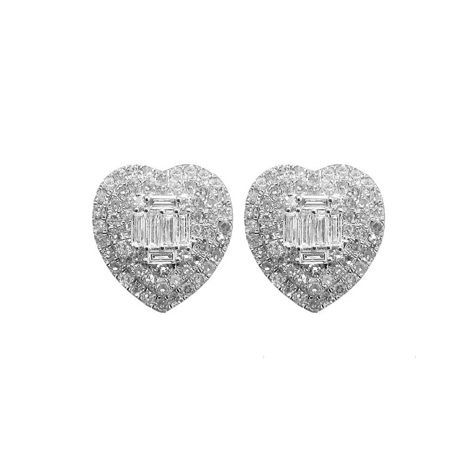 14K GOLD DIAMOND ELLA HEART STUDS