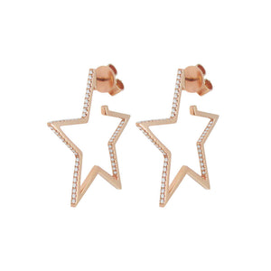 14K GOLD DIAMOND LILY STAR HOOPS
