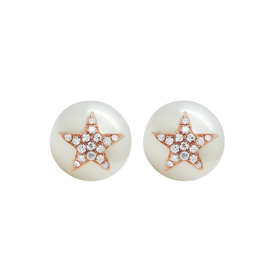 14K GOLD DIAMOND CLARA PEARL STAR STUDS