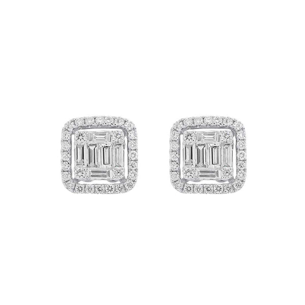 14K WHITE GOLD DIAMOND HALLE STUDS