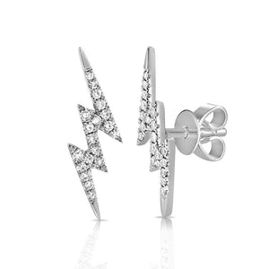 14K GOLD DIAMOND LARGE LIGHTNING STUDS