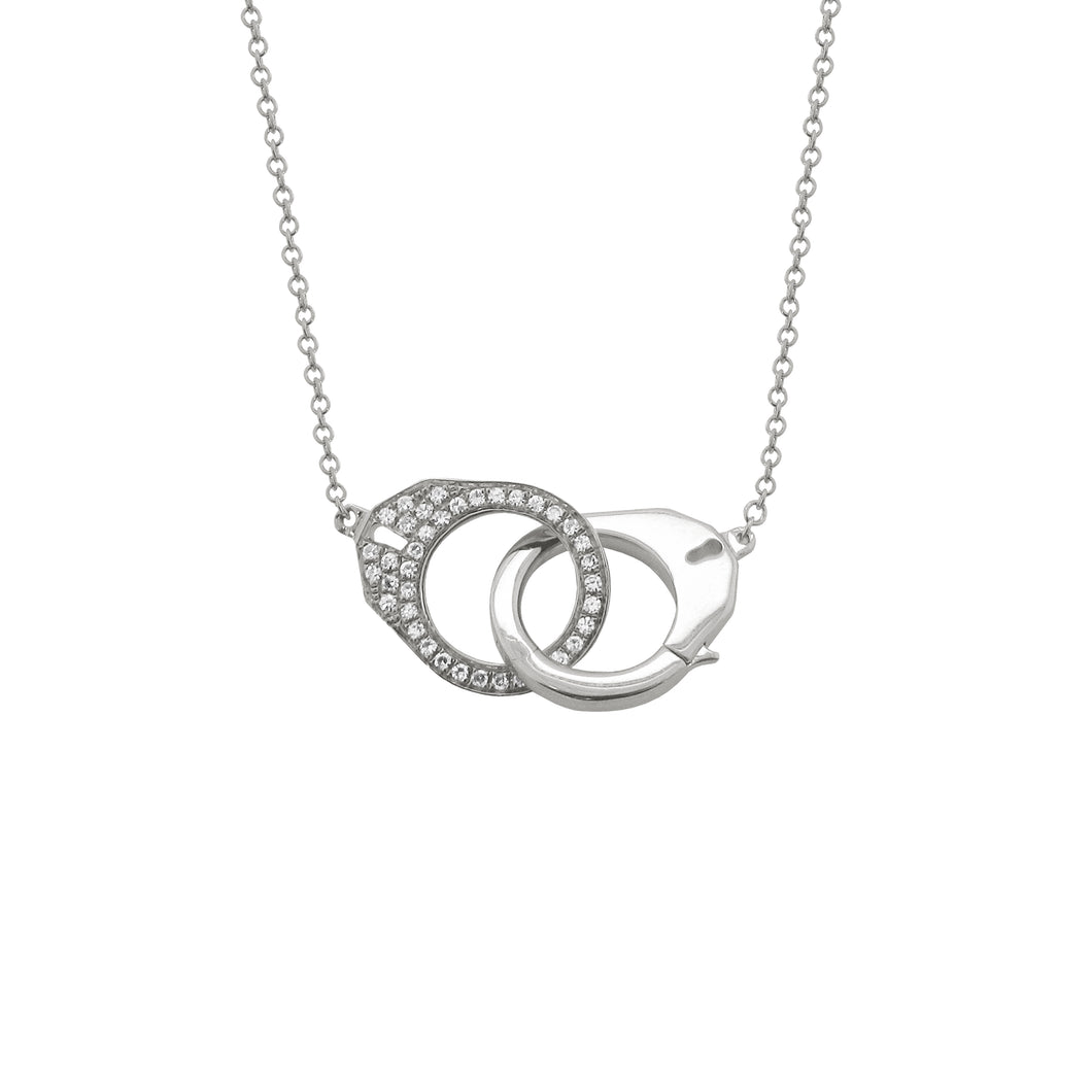 14K GOLD DIAMOND CAMERON HANDCUFF NECKLACE