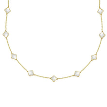 14K GOLD MEGAN WHITE CLOVER NECKLACE
