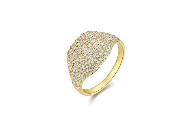 14K GOLD DIAMOND PAVE PINKY RING