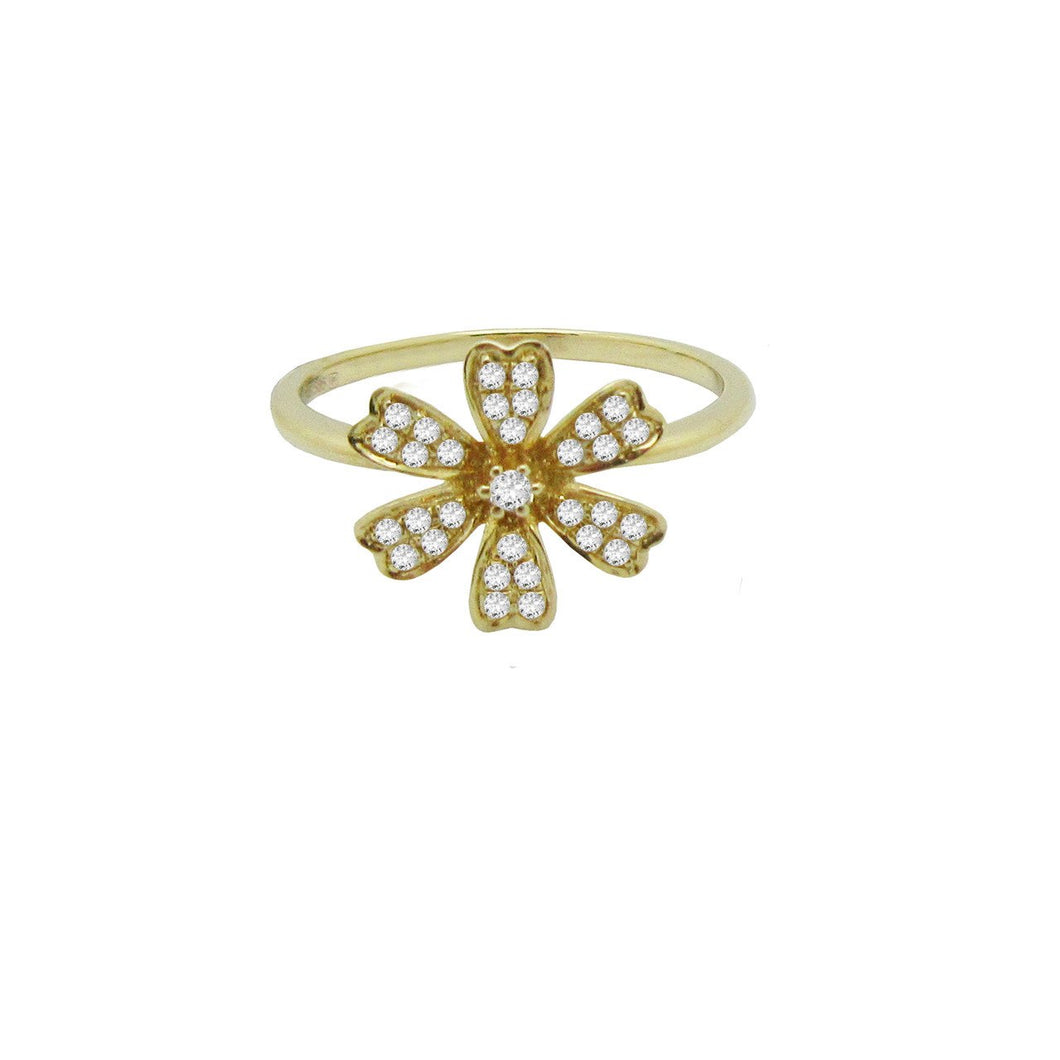 14K GOLD PETITE DIAMOND FLOWER RING